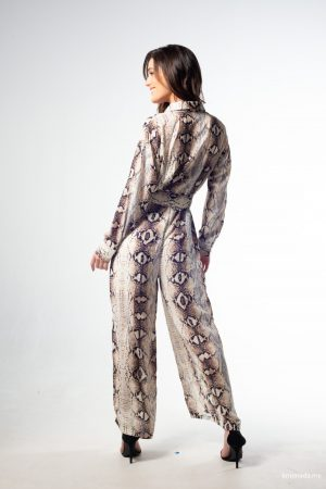 BÁSICOS Cream brown Jumpsuit estampado